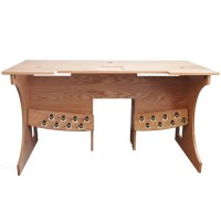 Console Table for Hauptwerk organ, with 16 Toe Studs - Oak Golden Pecan